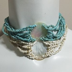 Jewelry - Bundle of 2 Beaded Shell Choker Necklaces